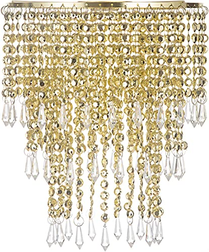 Waneway Acrylic Chandelier Shade, Ceiling Light Shade Beaded Pendant Lampshade with Crystal Beads and Gold Frame for Bedroom, Wedding or Party Decoration, Diameter 8.7 inches, 3 Tiers, Gold