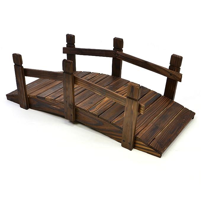Nexos kleine Holzbrücke Teichbrücke Teich Garten Holz Deko Brücke mit Geländer braun