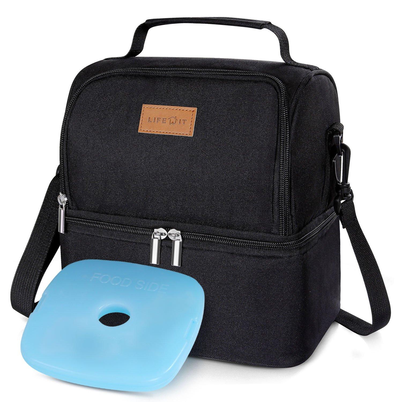 Lifewit Bolsa Térmica Porta Alimentos con Paquete de Hielo Doble Compartimentos Aislamiento Bolsa de Almuerzo para