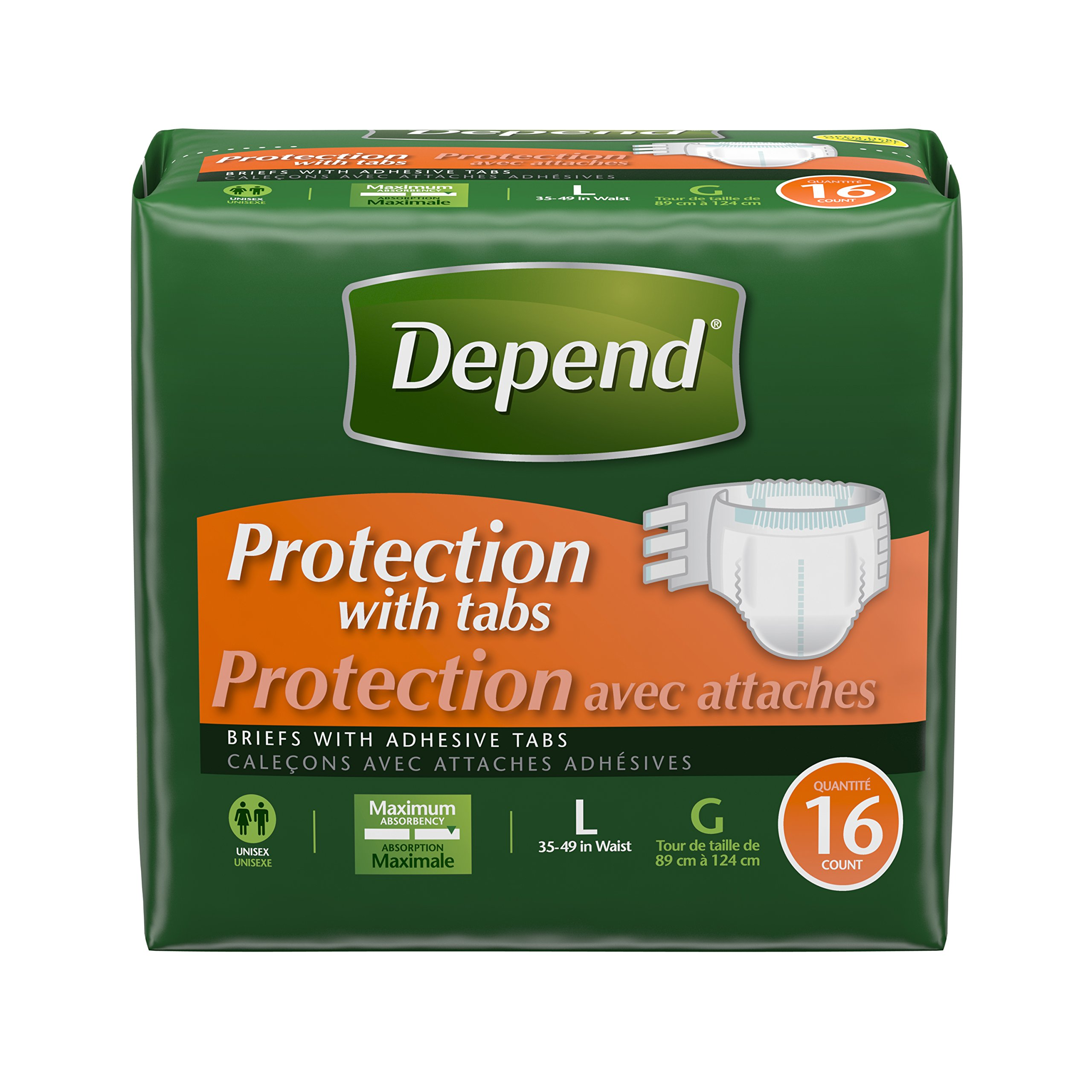 Depend Incontinence Protection with Tabs, Maximum Absorbency, Large, 16 Count (Pack of 3)