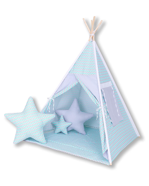 Spielzelt ohne Tipidecke mit 3 x Sternkissen Amilian® Tipi Spielzelt Zelt für Kinder T35 (Spielzelt ohne Tipidecke mit 3 x Sternkissen)