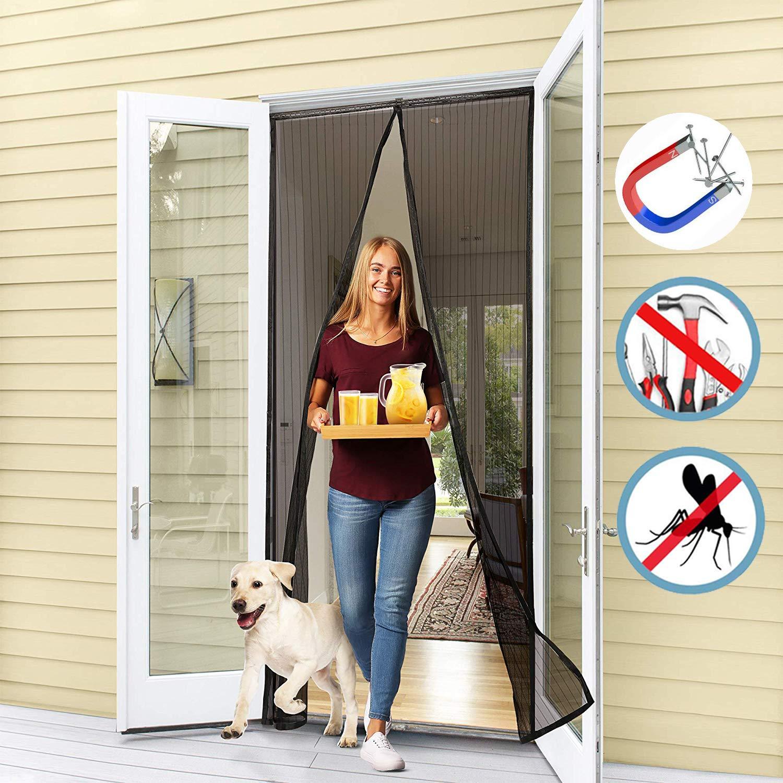 WISKEO Mosquitera para Puerta Abatible Magnetica Varios Tama/ños Cortina Adhesiva Protecci/ón contra Mosquitos Pantalla Dejar Pasar El Aire Terraza Balcones Negro 70x190CM