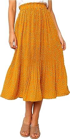 PHENHU Falda Plisada De Lunares para Mujeres y Niñas Faldas Midi Elásticas De Cintura Alta con Bolsillos