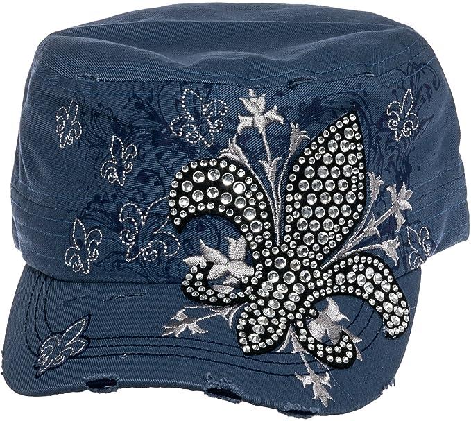 new products b7b53 dd1cb Crystal Case Womens Cotton Rhinestone Fleur de Lis Cadet Cap Hat (Denim  Blue)