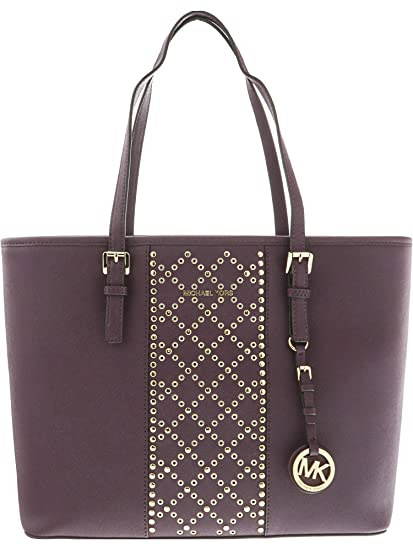 8cfbbc37421a2 Michael Kors Women s Jet Set Travel Top Zip Saffiano Leather Bag Top-Handle  Tote - Damson  Michael Kors  Amazon.co.uk  Clothing