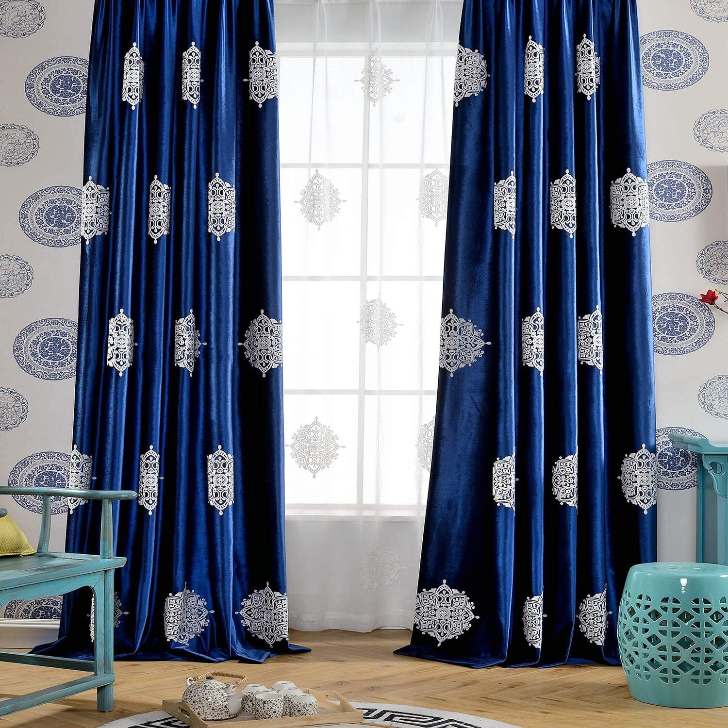 Floral Curtains drapes blue curtains nursery curtains baby gift new born Bedding