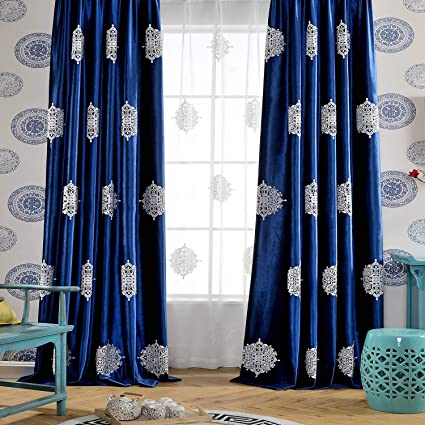 Amazoncom Vogol Eurapean Floral Embroidered Elegant Curtains For