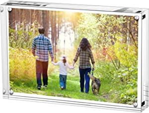 Boxalls 4x6 Inches Acrylic Picture Frame, Desktop Frameless Photo Frame with Magnetic, Double Sided Transparent