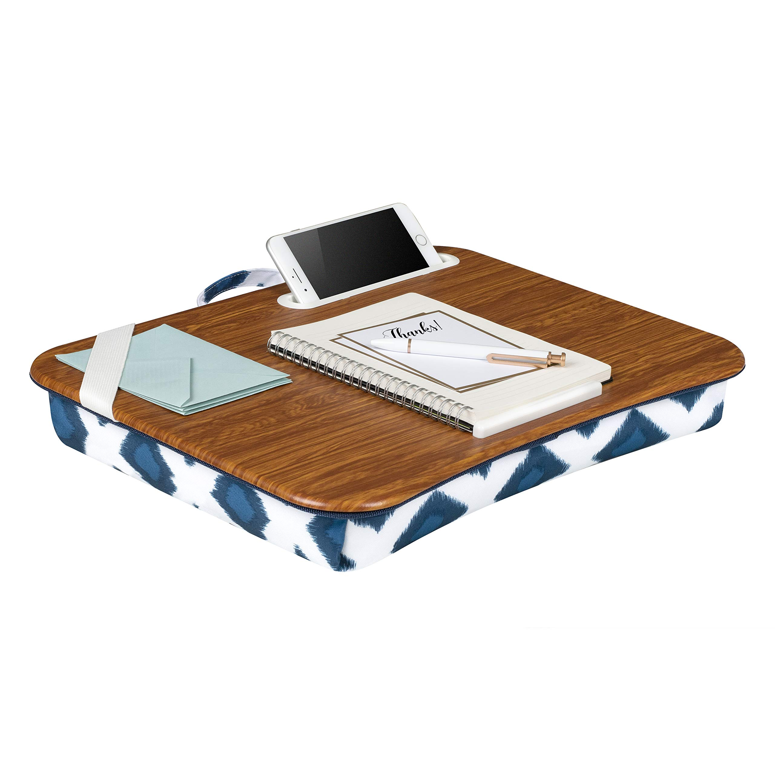 LapGear Designer Lap Desk with Phone Holder - Navy Ikat - Fits up to 15.6 Inch laptops - Style No.45423