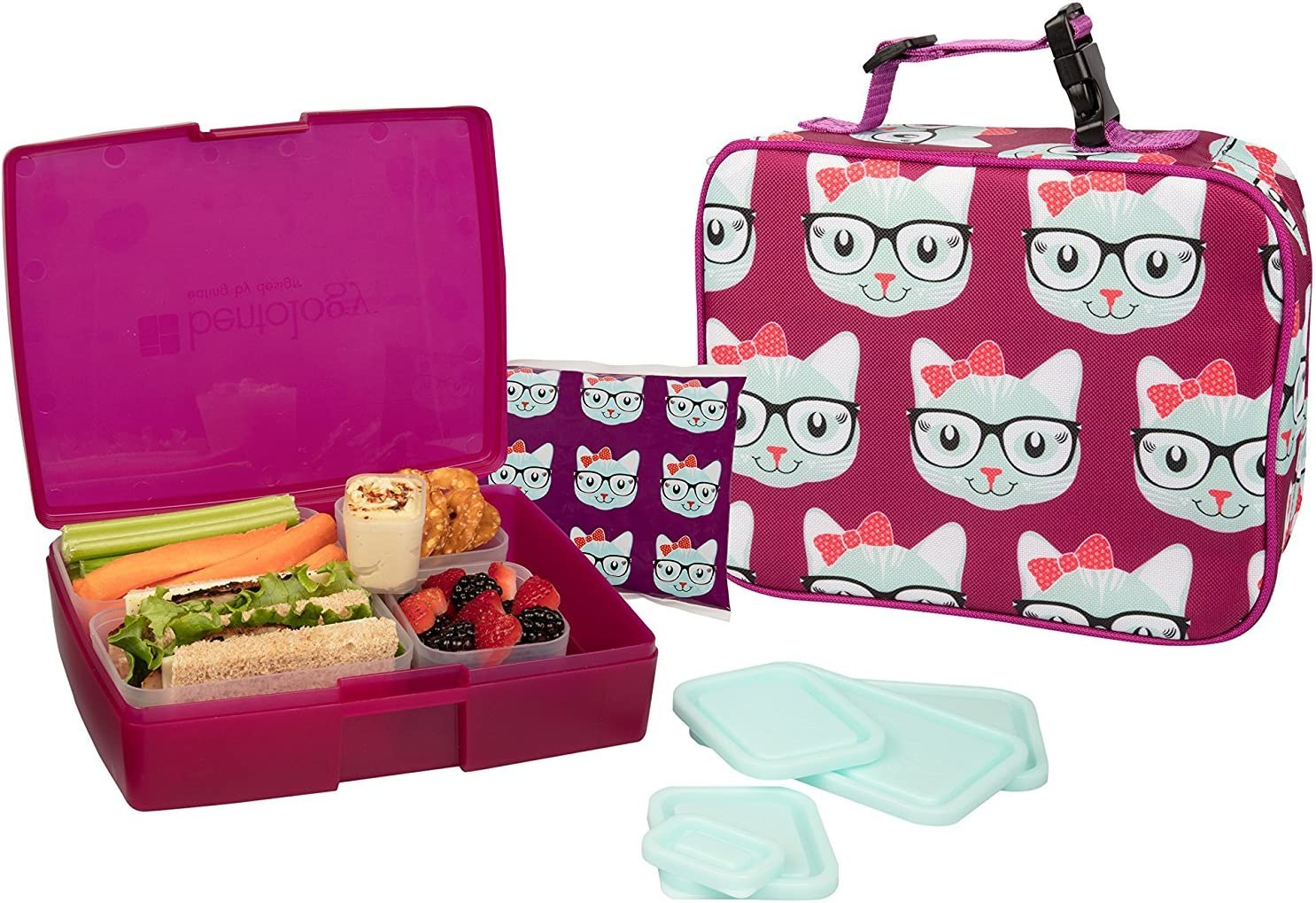 Bentology Lunch Bag and Box Set for Kids - Girls Insulated Lunchbox Tote, Bento Box, 5 Containers and Ice Pack - 9 Pieces - Kitty