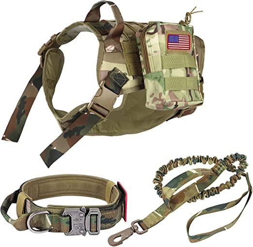 Pruk Tactical Dog Harness Set, K9 Dog Harness Military Dog Vest Collar Leash with Molle Pouch and Patch, No Pull Tactical Dog Vest for Large Dog, Service Dog Harness for Training Hiking(Camo, XL)