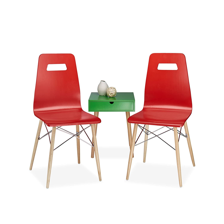Relaxdays Chaises bois lot de 2 design ARVID salon salle à manger HxlxP: 92 x 43 x 40 cm style rétro moderne scandinave