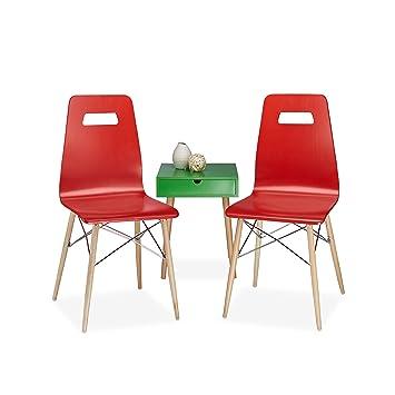 Relaxdays Design Stuhl 2 Er Set ARVID, Holz, Esszimmer Stuhl, Modern