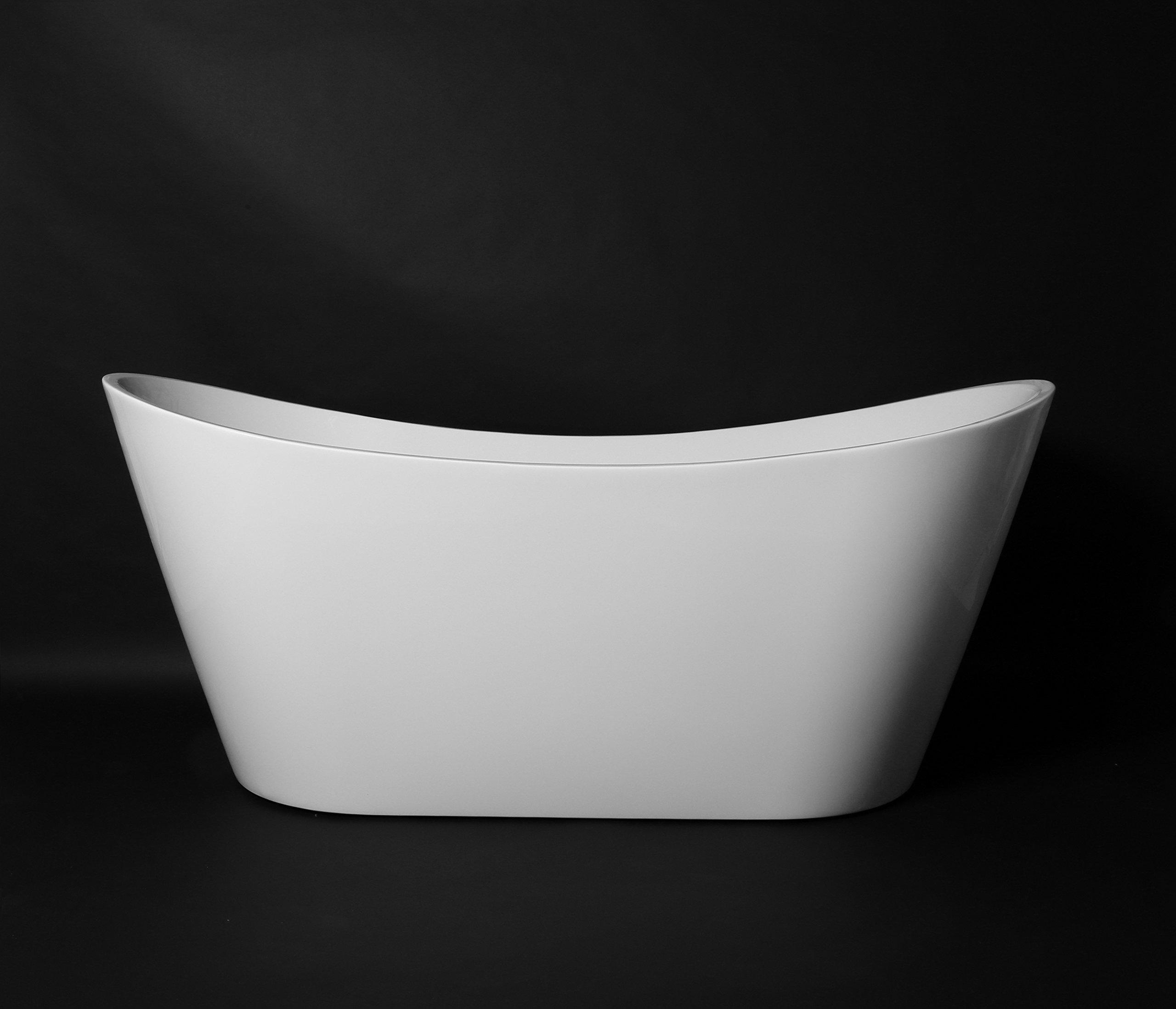 Kokss Bolsena Modern Acrylic Freestanding Soaking Bath Tub Spa 67'', White, Oval, Luxury hot tub spa