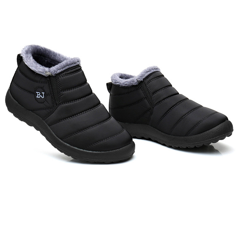 JOINFREE Unisex Outdoor Winter Boots Slip On Flat Ankle Snow Shoes Low Heel Black 7.5 D(M) US Men