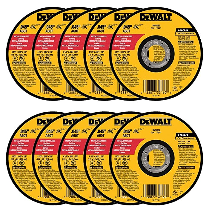 "DEWALT DW8062 4-1/2"" x .045 x 7/8"" Metal Cut-Off Wheel (100pk)"
