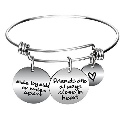 fa772a0b5a853 YEEQIN Side by Side Or Miles Apart Best Friends Charms Bangle Bracelets -  Long Distance Friendship Gifts