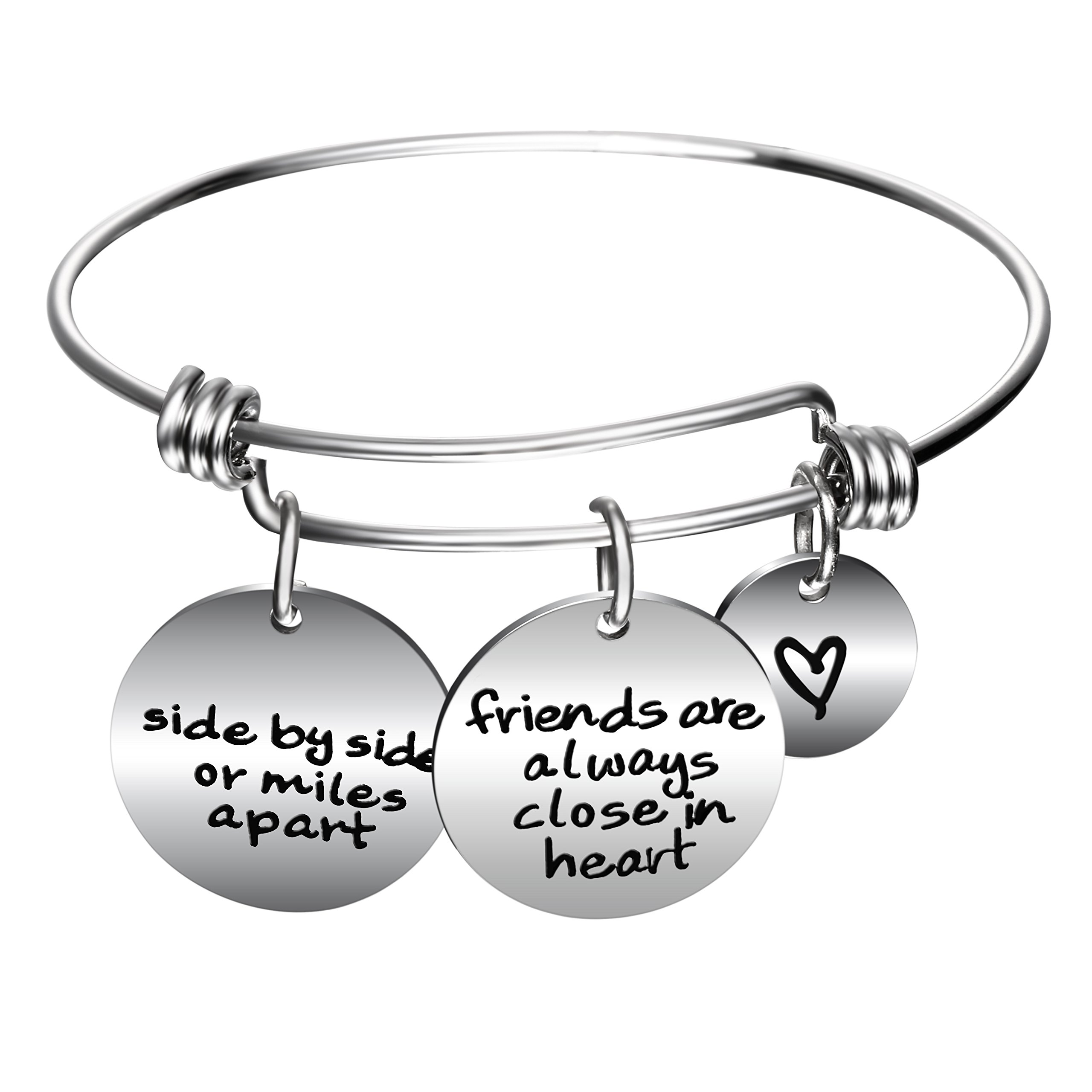 YeeQin Side By Side Or Miles Apart Best Friends Charms Bangle Bracelets - Long Distance Friendship Gifts