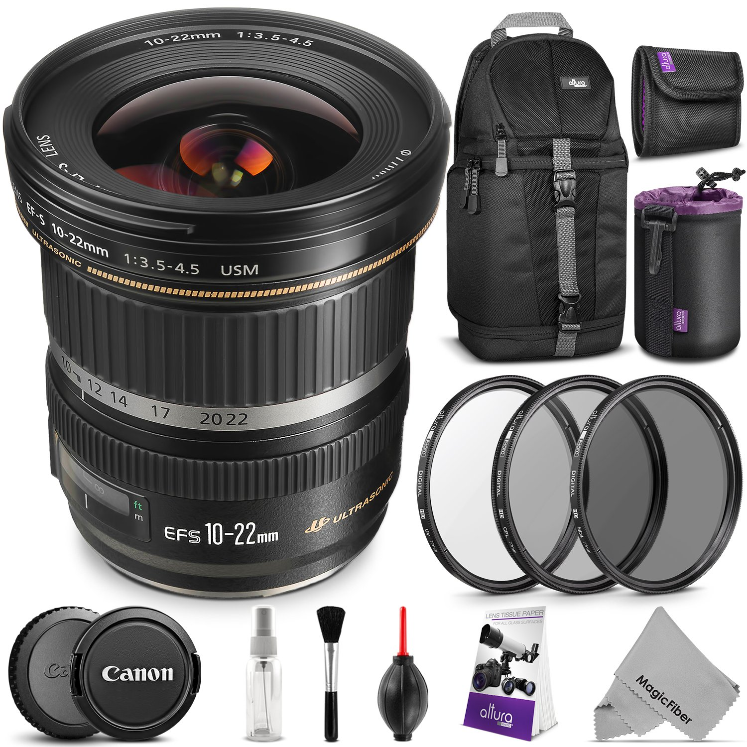 Canon EF-S 10-22mm f/3.5-4.5 USM Lens w/ Advanced Photo and Travel Bundle - Includes: Altura Photo Sling Backpack, UV-CPL-ND4, Neoprene Lens Pouch, Camera Cleaning Set by Canon