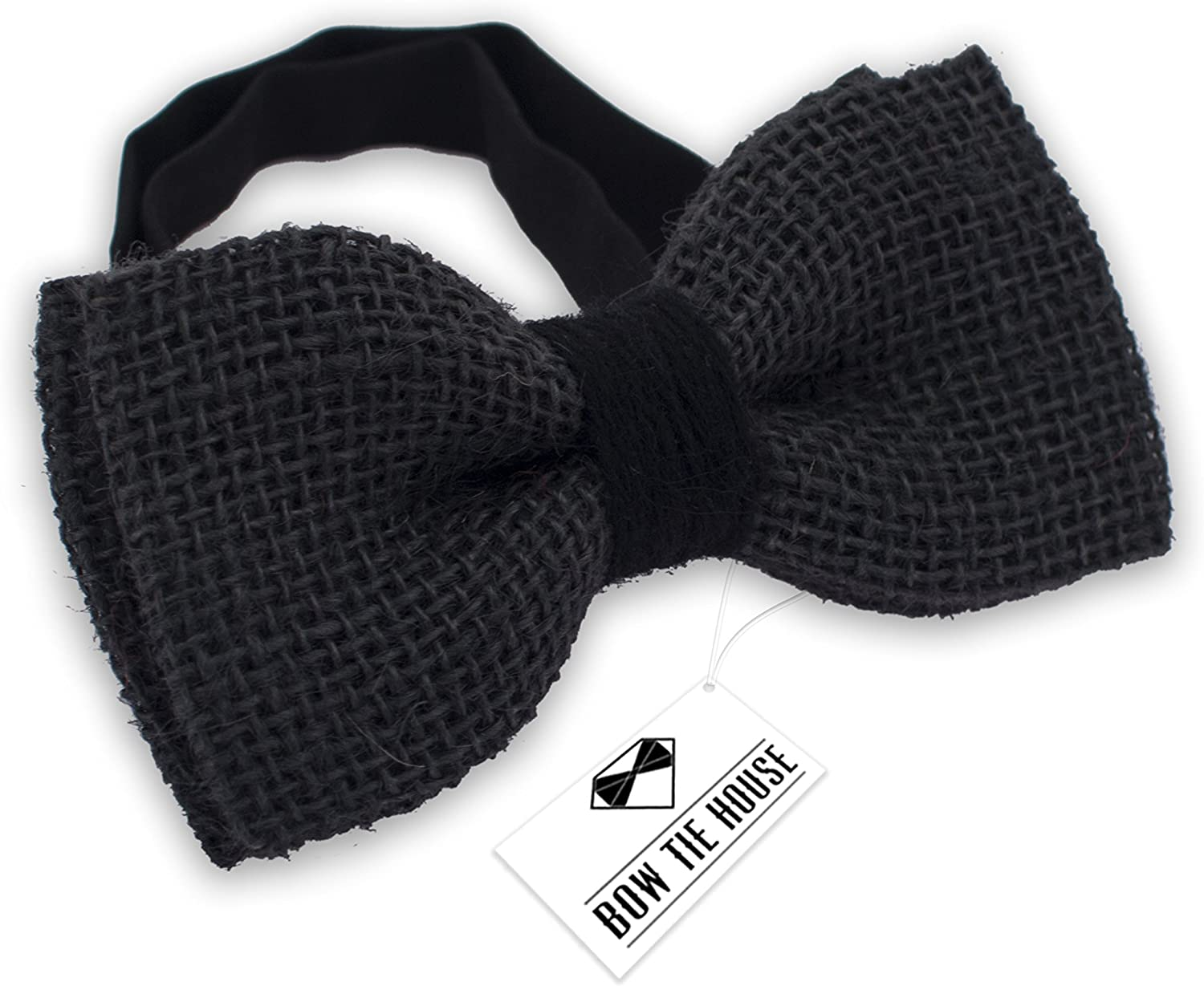 Bow Tie House Rustic Pre-Tied Bow Tie in 100/% Burlap Hessian Large, Brown