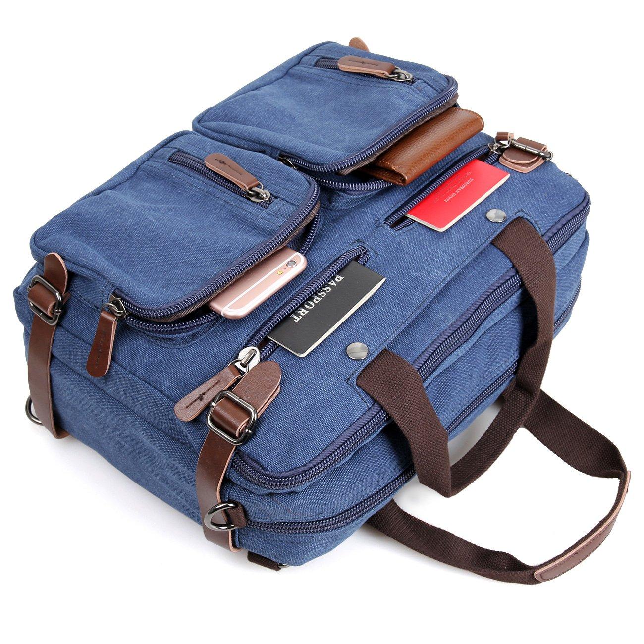 Clean Vintage Laptop Bag Hybrid Backpack Messenger Bag/Convertible Briefcase Backpack Satchel for Men Women- BookBag Rucksack Daypack-Waxed Canvas Leather, Blue by Clean Vintage (Image #7)