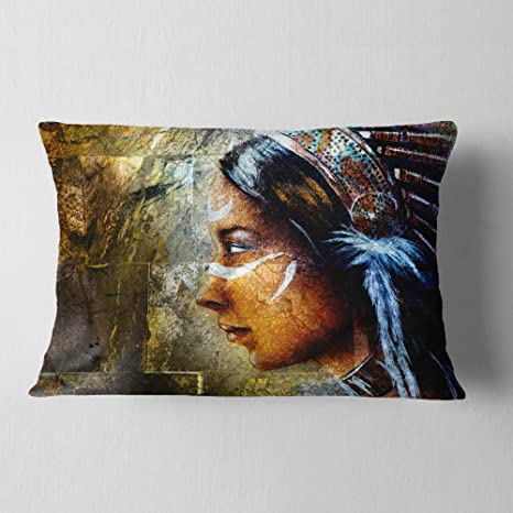 Designart Cu6276 12 20 Indian Woman With Headdress Portrait Throw Lumbar Cushion Pillow Cover For Living Room Sofa 12 In X 20 In Pillow Insert Cushion Cover Printed On Both Side Amazon In Amazon In
