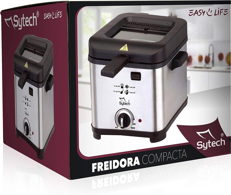 Sytech Freidora Electrica 1, 5L, Cromado, 1.5L: Amazon.es