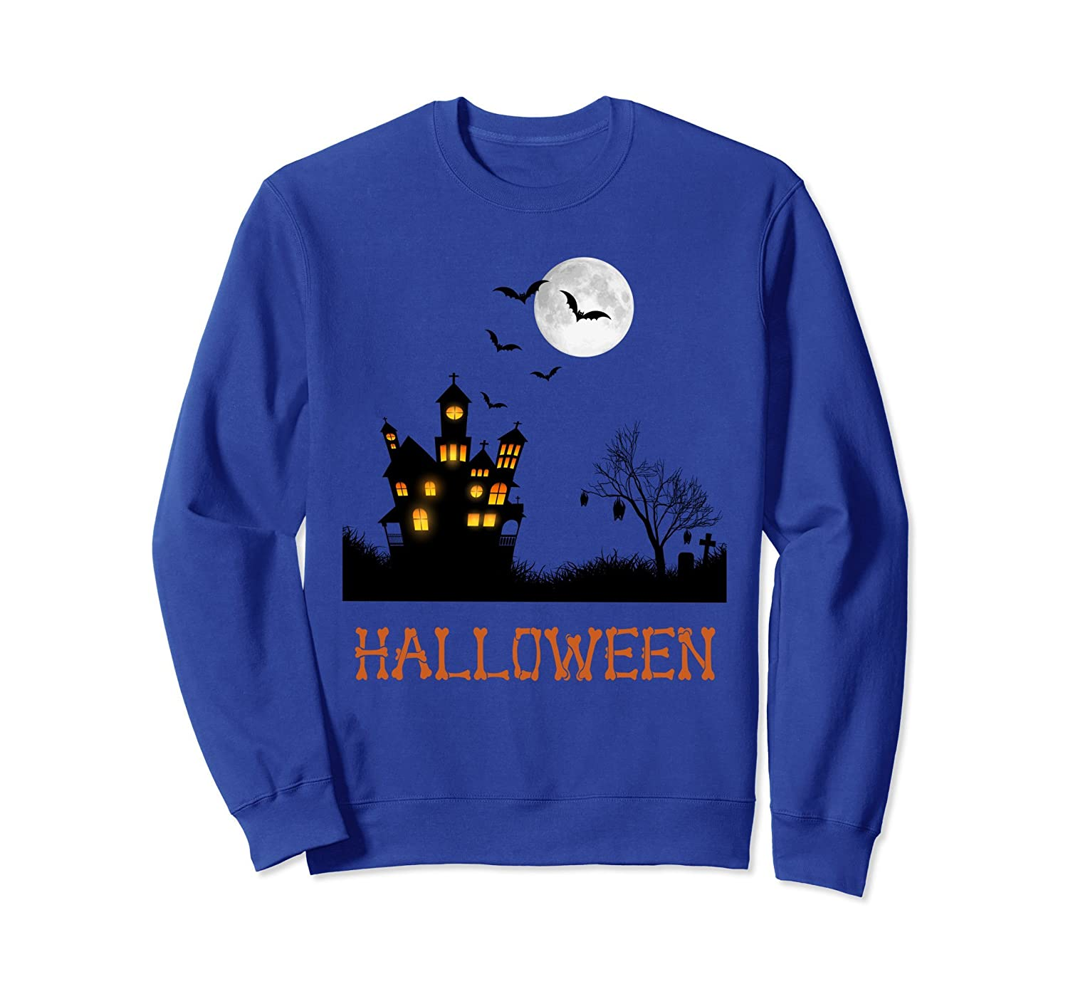 Cool Graphic Design Haunted House Halloween Sweatshirt-mt