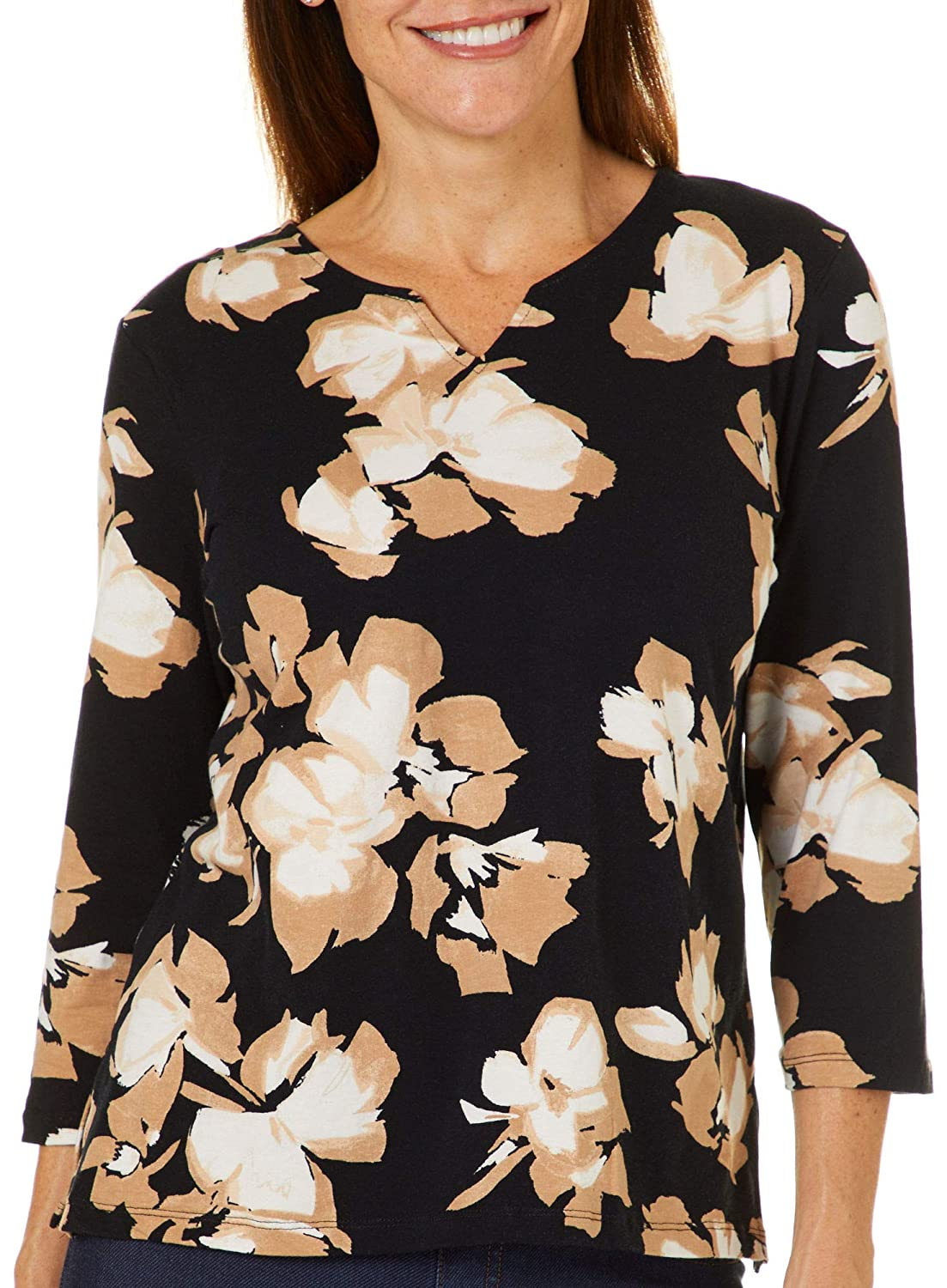 Alfred Dunner Petite Carnation Flower Print Top P000533675