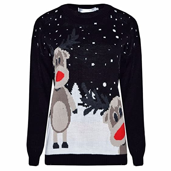 70d40ccb B Trendz (M) Womens Knitted Rudolf Reindeer Ladies Xmas Christmas Novelty  Jumper Sweater Top