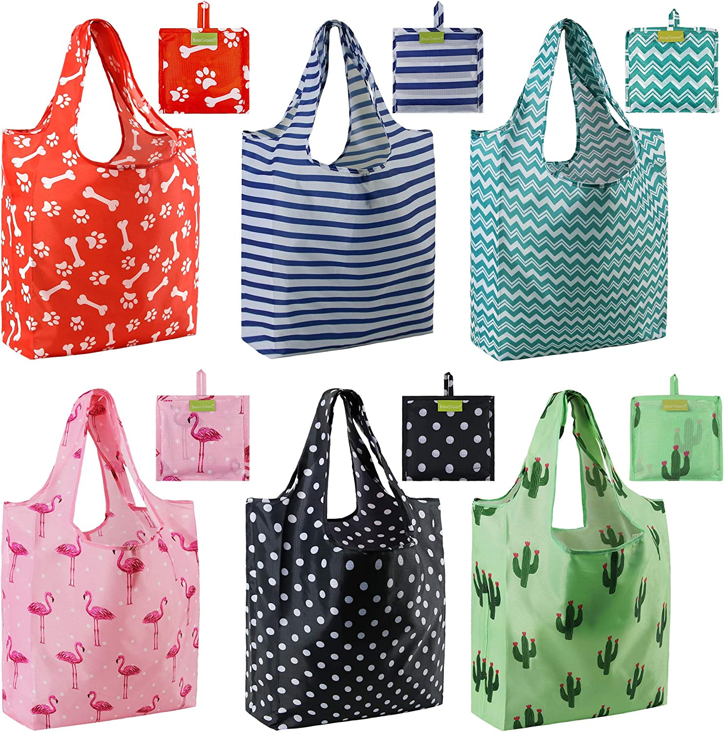 Tote Bags Groceries Reusable Gift Bags Mixed Bags Designs for Shopping RIPstop 50LBS XLarge Machine Washable Fashion Bags with Pouch Dog Paw Cactus Flamingo Stripes Dots …