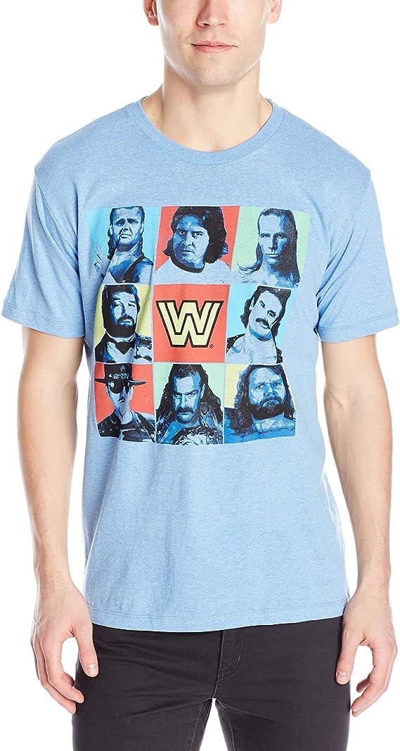 Adult Light Heather Blue WWE Wrestling Classic Legends Undertaker Piper T-Shirt