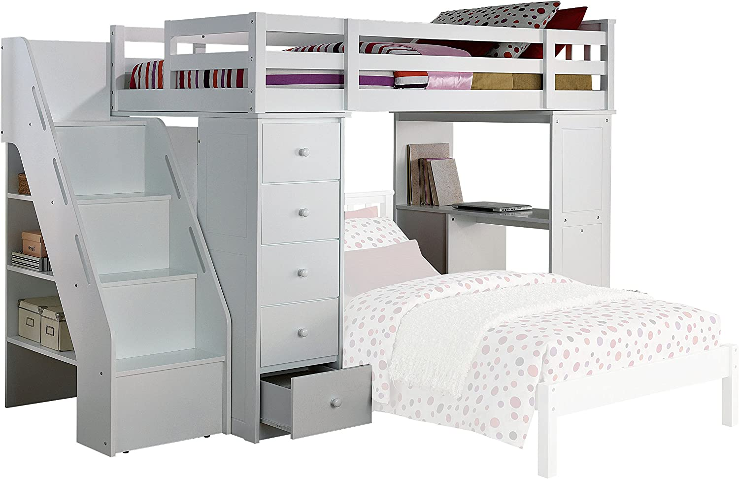 Amazon Com Acme Freya White Loft Bed With Bookcase Ladder Furniture Decor