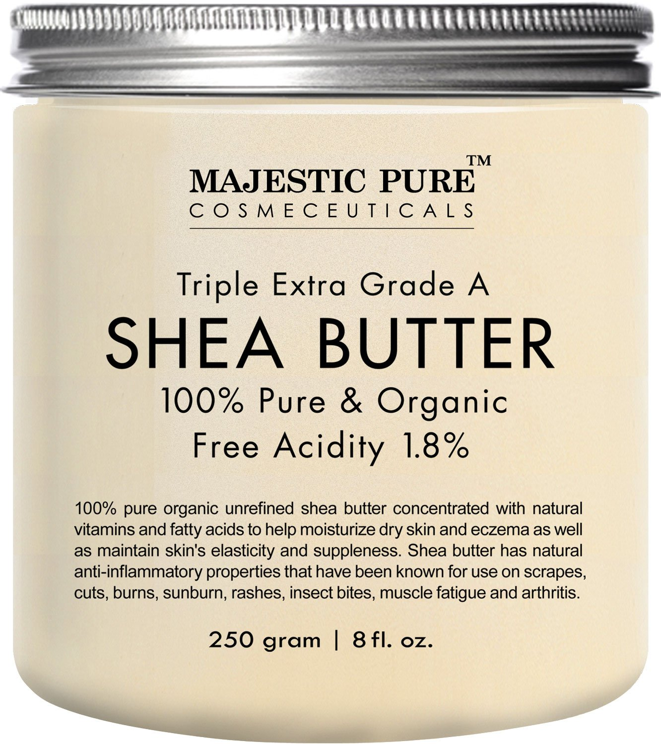Majestic Pure Shea Butter, Natural Skin Care, Organic Virgin Cold-Pressed Raw Unrefined Premium Grade from Ghana - 8 oz …