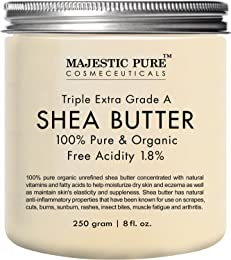 Majestic Pure Shea Butter, Natural Skin Care, Organic Virgin Cold-Pressed Raw Unrefined Premium Grade from Ghana - 8 oz