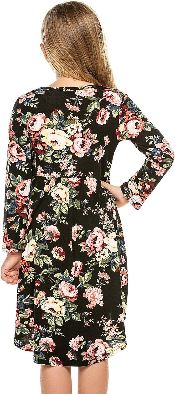 Bricnat Long-Sleeved Girls Dresses Floral Dress Cotton Skater Dress for Girl Casual Dress Round Neck
