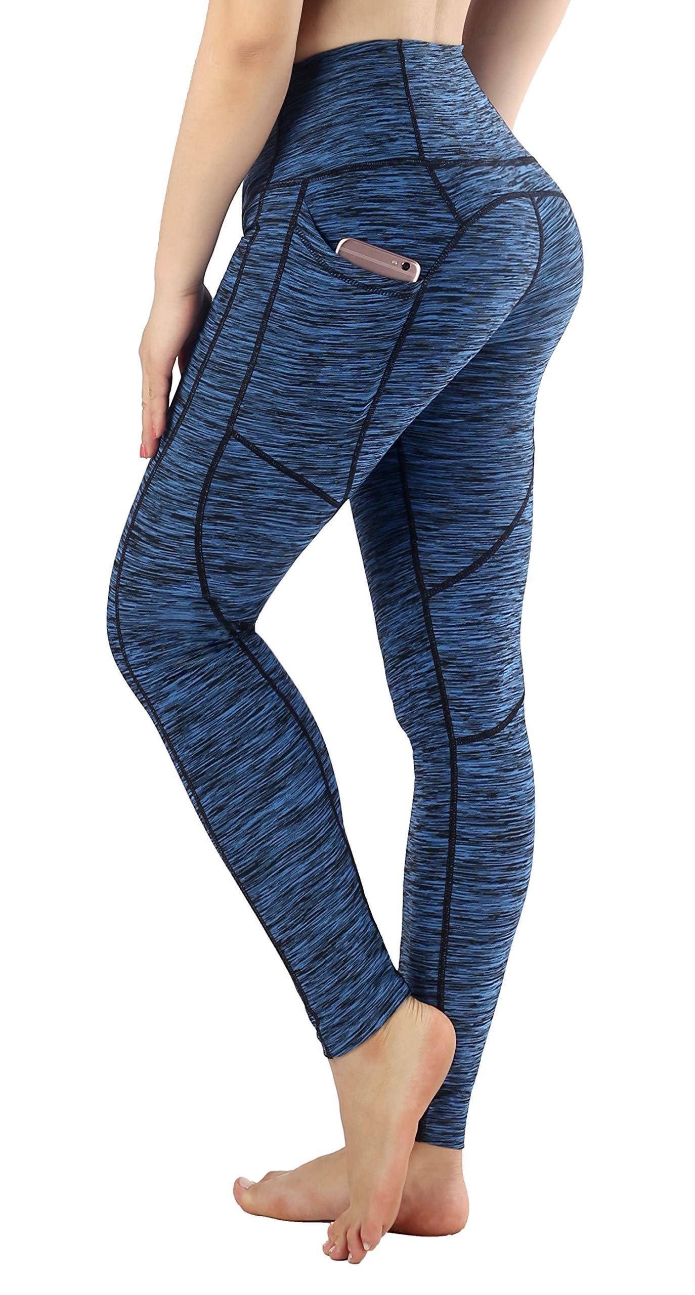 Sugar Pocket Women's Ankle Running Leggings Yoga Pants with Side Pocket L(Blue)