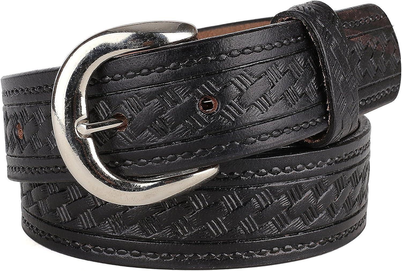 MONIQUE Men Black Basketweave 1-3//8 Wide Top Grain Leather Metal Buckle Belt