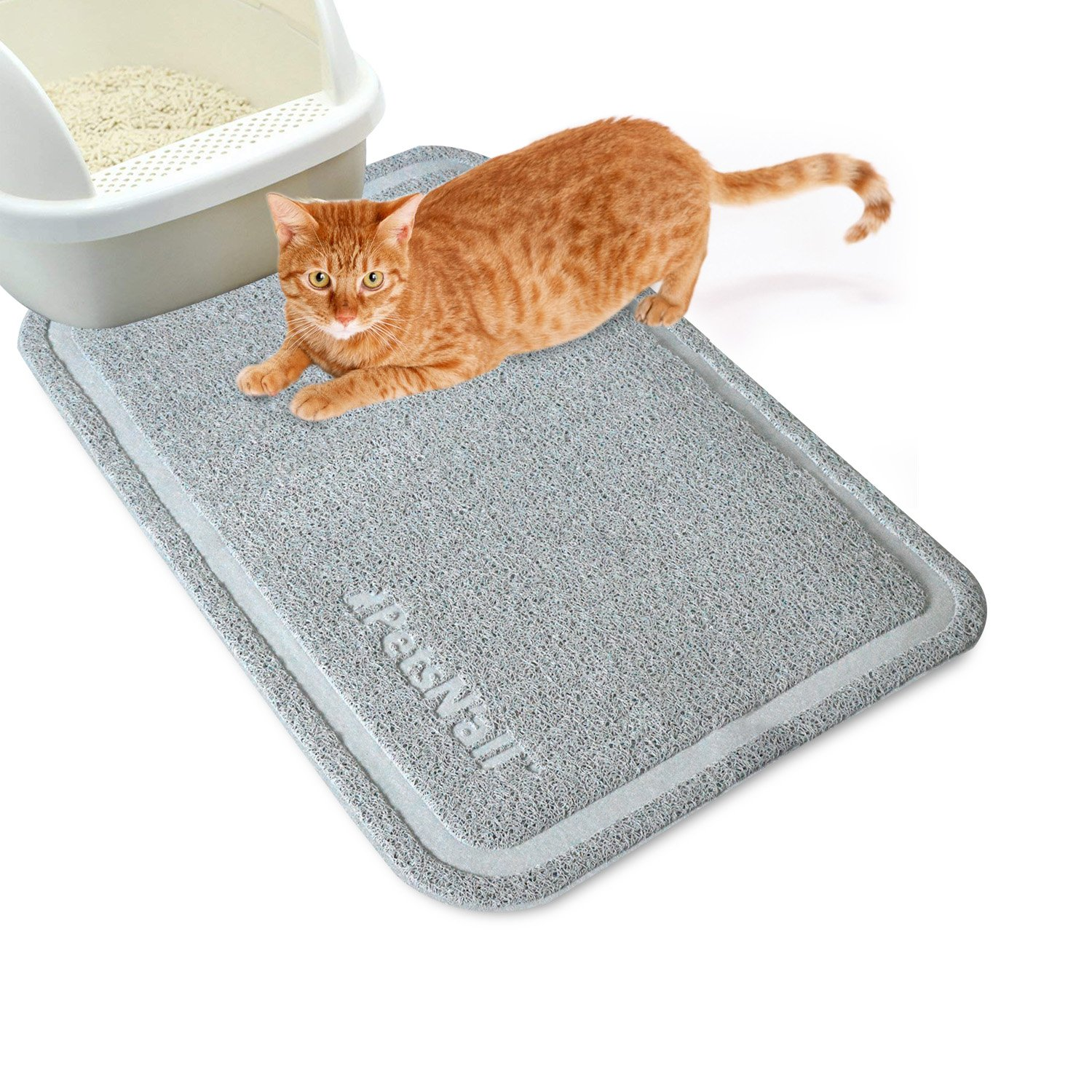 Cat Litter Mat Extra Large (35.5 x 24''/90 x 60 cm) PetsN'all Litter Trapper Catcher Mat Kitty Scatter Mat Soft to Paws Easy to Clean (Gray)