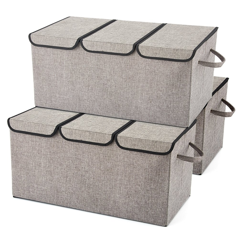Jumbo Large Storage Boxes [3-Pack] EZOWare Large Linen Fabric Foldable Storage Cubes Bin Box Containers with Lid and Handles - Light Gray For Home, Office, Nursery, Closet, Bedroom, Living Room (61 x 30 x 30cm)