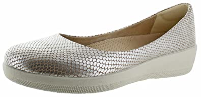 e3fc283a69b190 Fitflop Women s Snake-Embossed Leather Superballerina Flats Silver Snake 04