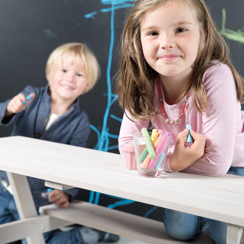 roba Kinder Outdoor Sitzgruppe Picknick for 4 grau lasiert Sitzgarnitur mit 2 B/änken und 1 Tisch aus Holz f/ür drinnen und drau/ßen wetterfest