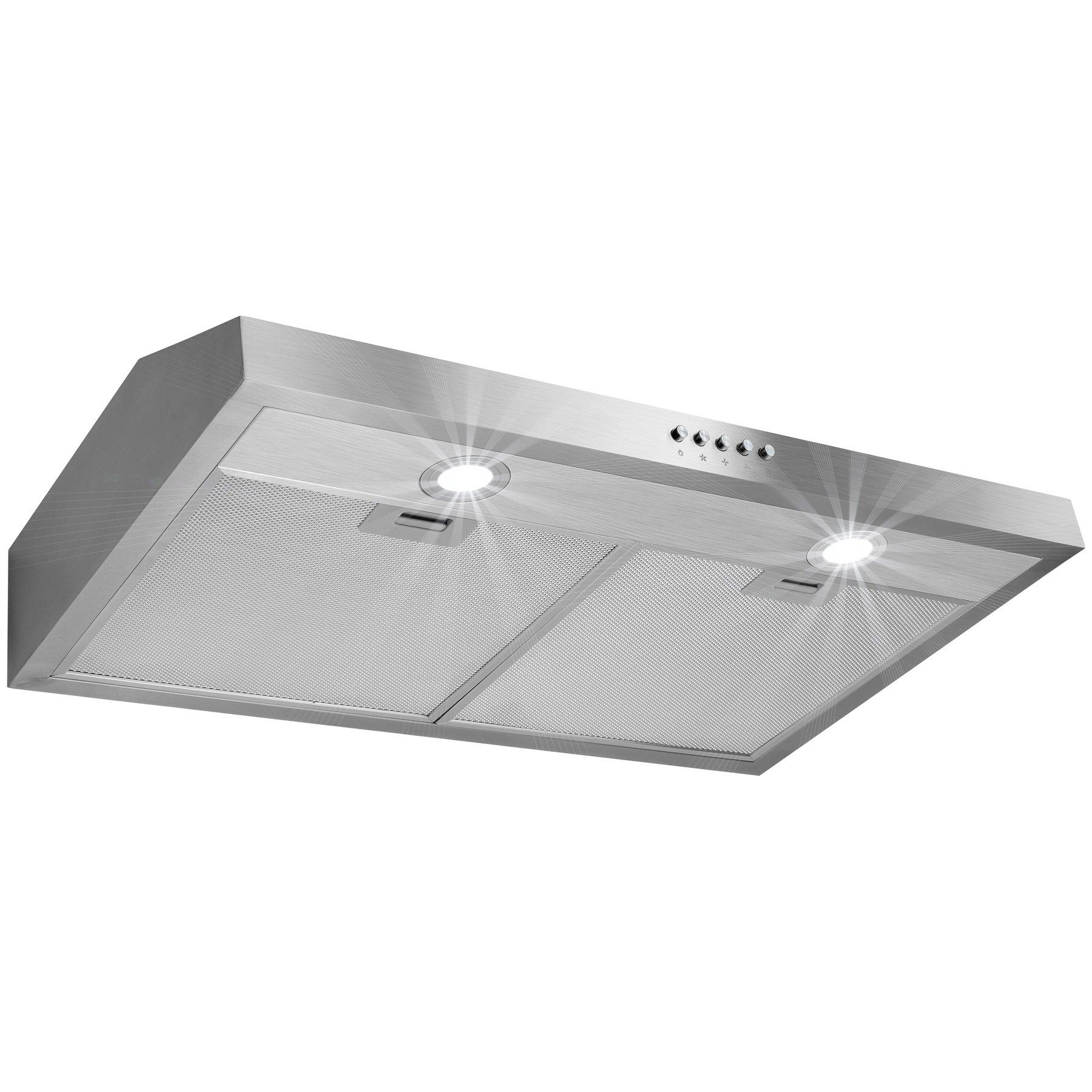 Golden Vantage 30'' Stainless Steel Under Cabinet Kitchen Range Hood w/ Push Button Control