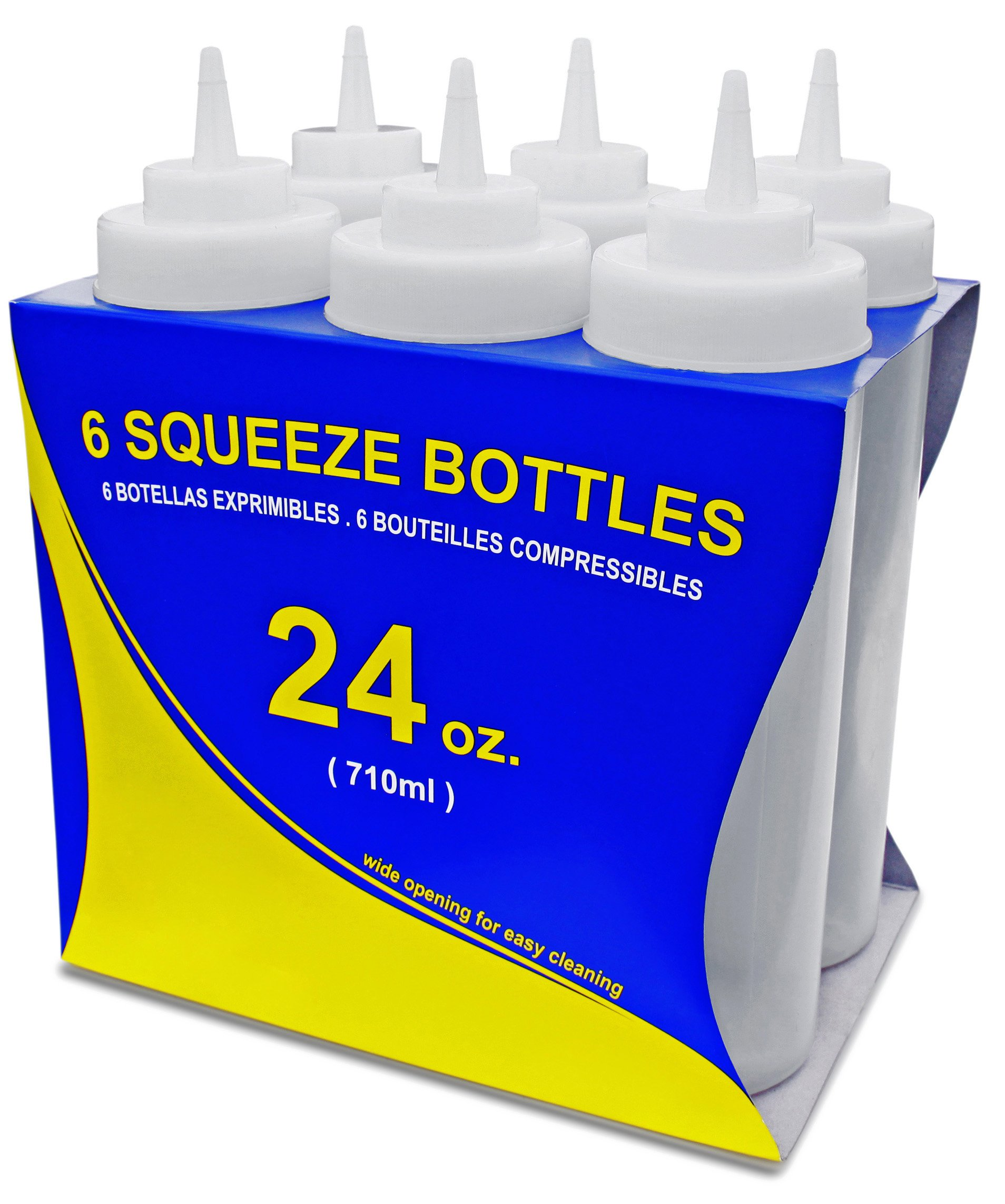 New Star Foodservice 26238 Squeeze Bottles, Plastic, Wide Mouth, 24 oz, Clear, Pack of 6 by New Star Foodservice