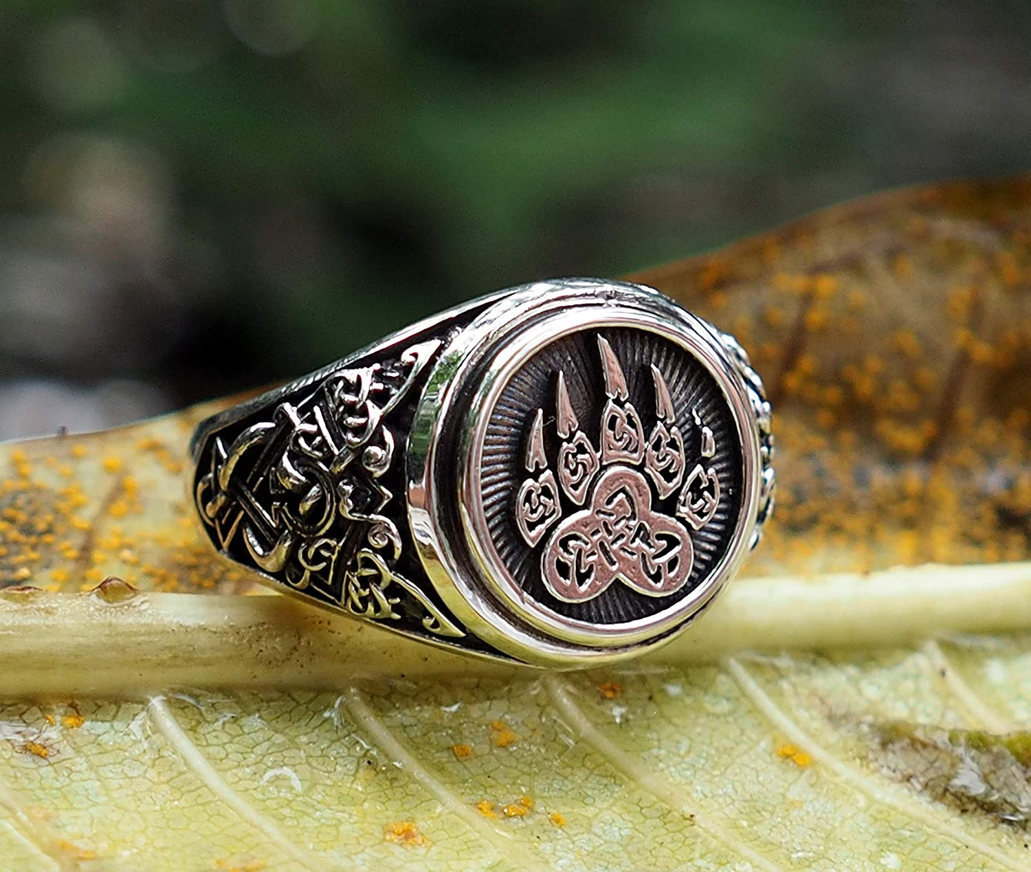Bear Paw Ring Viking Print Bear Paw Claw Slavic Ring Norse Viking Ring  Viking Jewelry with in 925 Sterling Silver