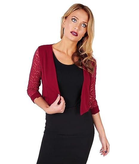 KRISP Women Lace Back 3/4 Sleeve Cropped Shrug Top Cardigan Jacket at Amazon Womens Clothing store: