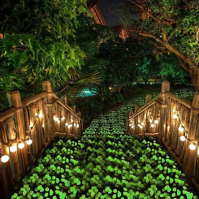 chic style Glow in The Dark Garden Pebbles, Gardening Luminous Glow Stones Outdoor Decor Glowing Water Fish Tank Gravel (Green)