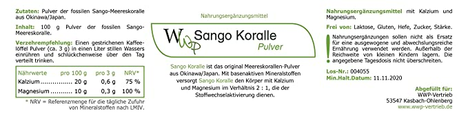 Sango Coral Powder - Original Sango Sea coral Powder from Okinawa - 100g: Amazon.es: Salud y cuidado personal
