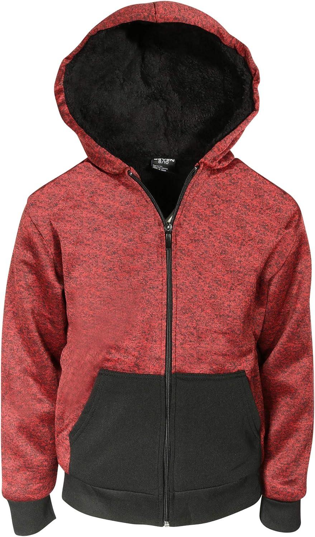 Quad Seven Boys Fleece Full-Zip Hooded Sweatshirt with Sherpa Lining