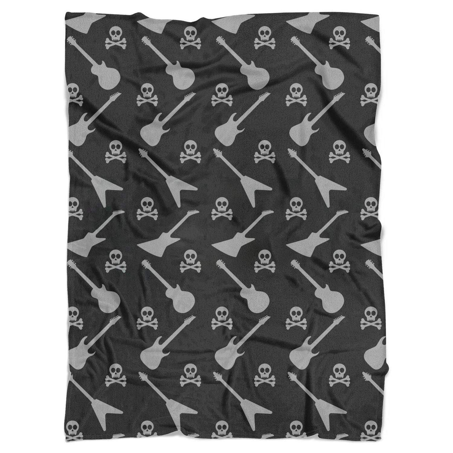 Pop Skull with Rock Guitar Bed Blanket Luxury Flannel Blanket for Couch or Bed 59''X79'' by FItTer